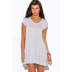 Heather gray short sleeve tee shirt tunic top mini dress ($15) ❤ liked on Polyvore featuring tops, tunics, grey, grey tunic, long tunics, long tops, short sleeve tops and scoop neck top