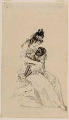 """Francisco José de Goya y Lucientes, La duquesa de Alba teniendo en sus brazos a María de la Luz (""""The Duchess of Alba holding María de la Luz""""), 1796-1797. Sanlúcar Album / Album A. India ink wash."""