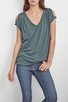 Cotton tee with short sleeves and cold shoulder cutouts.   Abiona Slub Tee by Velvet. Clothing - Tops - Basics Clothing - Tops - Tees & Tanks Cape Cod, Massachusetts