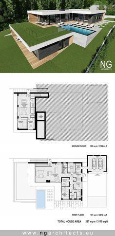 modern house plan villa Bjared desgned by NG architects Modern House Plans, Tiny House Plans, House Floor Plans, Villa Plan, Modern Villa Design, Contemporary Architecture, Contemporary Bedroom, Contemporary Style, Contemporary Building