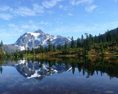Picture Lake fine art photography print for sale by Priya Ghose - Mt. Shuksan reflected in Picture Lake in Washington State.