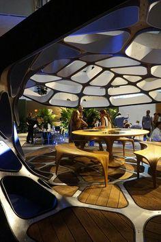 prefabricated dining by zaha hadid.  image © designboom