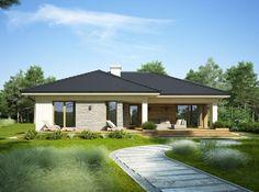 Wizualizacja FA OCEANIA CE Modern Family House, Modern Bungalow House, Rural House, Modern House Plans, Bungalow Floor Plans, Bungalow Renovation, House Deck, Facade House, Dream Home Design