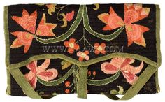 Antique Wallet, Needlework Wallet, Crewel Embroidery, Canvaswork pocketbook in floral pattern with urn, American 18th century, lined in blue wool with green wool tape and ties.   Dimensions: 7.75 x 4.5 inches.