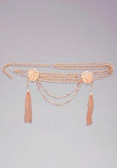 Lion Head Chain Belt - A lion head anchors this gorgeous draped chain belt. Chain Belts, Tassel Necklace, Lion, Bracelets, Gold, Jewelry, Fashion, Bebe, Leo