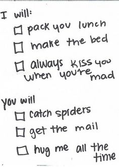 Cute way to always remember to give in a relationship. #Spiders and #Hugs= perfection!