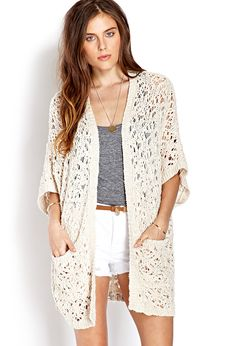 Everyday Open-Knit Cardigan from Forever Shop more products from Forever 21 on Wanelo. Cardigan Outfits, Cardigan Fashion, Knit Cardigan, Knit Blazer, Teen Fashion, Love Fashion, Fashion Outfits, Womens Fashion, Petite Fashion