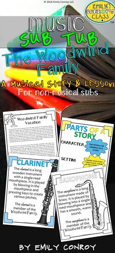 Music Sub Tub contains an original story and accompanying lesson about the woodwind family of the orchestra. This 40 minute lesson can be used by music teachers or music substitutes and is a great way to integrate literacy into the music classroom! Music Sub Plans, Music Lesson Plans, Music Lessons, Music Classroom, Music Teachers, Classroom Ideas, Classroom Organization, Middle School Music, Music Worksheets