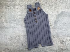 Newborn Boy Photo Prop Outfit - Blueberry Sweater Knit and Waffle Overall Romper - READY TO SHIP by wrenandwillowdesigns on Etsy