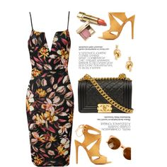 Floral by luvsassyselfie on Polyvore featuring moda, Charlotte Russe, Balenciaga, Clarins, yellow and floral