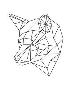 Geometric Animal Geometric Fox Fox Art Fox Art by HappyBearPrints Geometric Fox, Geometric Drawing, Geometric Designs, Art Origami, Stylo 3d, Animals Black And White, Polygon Art, Tape Art, 3d Pen
