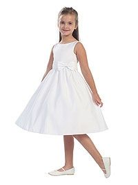 Flower Girl Dress Style 5489 - Sleeveless Satin Dress with Bow Accent