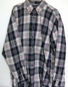 Eddie Bauer Men's Casual Plaid Shirt Size Large 100% Cotton L #EddieBauer #ButtonFront
