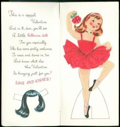 Norcross Ballerina Valentine Paper Doll Greeting Card for Daughter 1968 | eBay