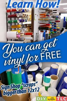 Vinyl for Cricut: Free (or Almost Free) - Tracy Lynn Crafts Save money on your crafting budget by getting vinyl for your Cricut projects for free by getting scraps from sign shops Inkscape Tutorials, Cricut Tutorials, Cricut Ideas, Cricut Project Ideas, Cricut Explore Projects, Cheap Vinyl, Cricut Craft Room, Vinyl For Cricut, Cricut Help