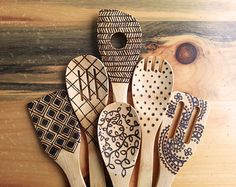 Woodburned Dragonfly Spoons Wooden kitchen utensils by SueMadeThat