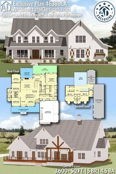 Architectural Designs Farmhouse Plan 46380LA gives you 5 bedrooms, 4.5 baths and 3,600+ sq. ft. Ready when you are! Where do YOU want to build? #46380LA #adhouseplans #farmhouse #country #architecturaldesigns #houseplans #architecture #newhome #exclusive #newconstruction #newhouse  #homeplans #architecture #home #homesweethome