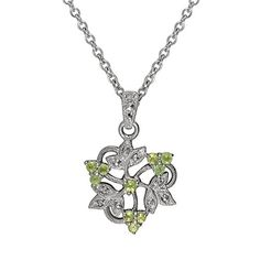 Esse Marcasite Sterling Silver Rhodium Plated Marcasite and Peridot Floral…
