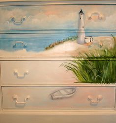 Cathy Amendola painted this dresser with a beach scene. This is a peek at what it looked like in the process. This is one of two dressers Cathy Amendola was commissioned to paint for a sweet lady that needed something for her grand children when they come Hand Painted Furniture, Funky Furniture, Paint Furniture, Upcycled Furniture, Furniture Makeover, Bedroom Furniture, Hand Painted Dressers, Beach House Furniture, Furniture Logo