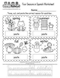 Four Seasons in Spanish Worksheet - Free Printable, Digital, & PDF