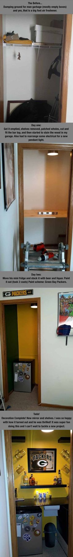 How To Turn A Small Closet Into A Man Cave - 4 Pics
