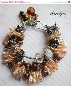 afterglow triple strands pearl pandora bangle chunky charm bracelet.
