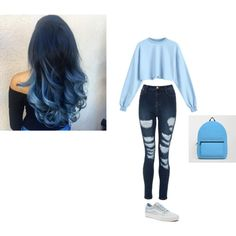 blue challange by phantrash-xll on Polyvore featuring Vans