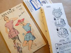 2 Vintage Apron Patterns SUE BURNETT & ADVANCE COBBLER'S Apron 1950s - 60s MED