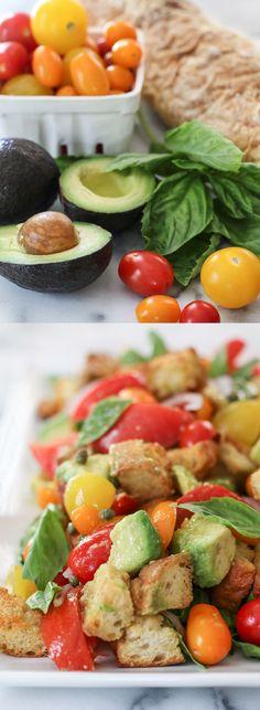Avocado Panzanella Salad - a delicious way to use up all those garden fresh…