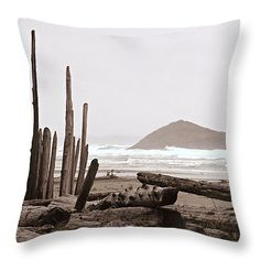 Rustic Formation Throw Pillow by Micki Findlay - TheSingingPhotographer.com - various sizes, home decor, cushion, beige, tofino, long beach, beach decor, coastal