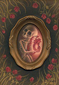 skeleton with anatomical heart. Crane, Skulls And Roses, Vanitas, Pop Surrealism, Memento Mori, Horror Art, Skull Art, Macabre, Dark Art
