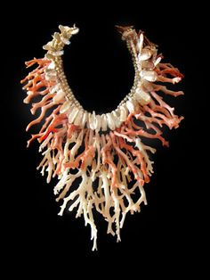Necklace | Gretchen Schields.  Pink and white branch coral, pearls