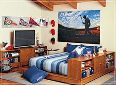 Boys Bedroom Love The Bookcase Beside The Bed To Divide The Room