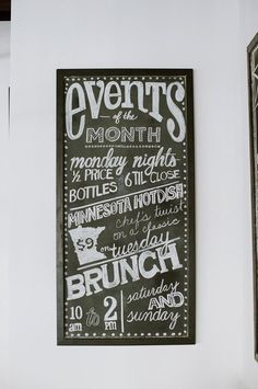 Chalkboard design by Girl Friday     Photo by DeBruyn Photography     Spill the Wine Restaurant