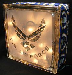 sandblasted Air Force glass block light | WalshDesigns - Housewares on ...