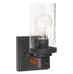 Kichler Barrington 4.49-in W 1-Light Distressed Black and Wood Arm Hardwired Wall Sconce
