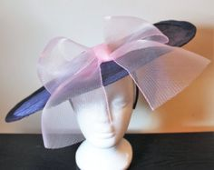Navy fascinator hat with pale pink bow, navy wedding hat, blue wedding hat, blue fascinator, hat with large bow, fascinator with bow - Edit Listing - Etsy
