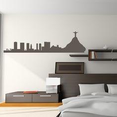 Rio De Janeiro Skyline Wall Art Sticker 150 01 - Vinyl Sticker Wall Art Deco Decal 60cm Width,24cm Height - Black Vinyl GetitStickit