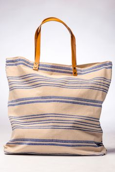 striped canvas cotton tote