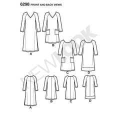 Misses' Knit Dress with Neckline & Length Variations <br>