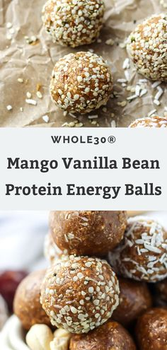 These Mango Vanilla Bean Protein Energy Balls are paleo, Whole30 and vegan-friendly. Made with dates, cashews, and collagen, they make the perfect healthy, no bake workout snack! They're packed with protein and only require 5 ingredients!