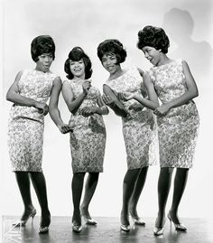 1963. The Marvelletes (Please Mr. Postman) Gladys Horton, Georgeanna Tillman,  Katherine Anderson and Wanda Young. Photo by ?