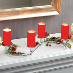 Holiday centerpiece idea, Quartet candle holder with polished nickel finish by PartyLite® Candles Wedding Reception Table Decorations, Holiday Centerpieces, Christmas Decorations, Candle Picture, Real Estate Gifts, Candles Online, Beautiful Candles, Decor Crafts, Pillar Candles