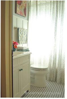 small bathroom redo-like the floor, shower curtain (which is IKEA curtain I already have in my LR)-LK