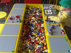 DIY Lego Tables - Perfect for Kids of All Ages How to Build a Lego Table for Your Children: How To Build A Great Lego Table – Vizimac Table Lego Diy, Lego Play Table, Lego Storage, Craft Storage, Storage Ideas, Table Storage, Kids Storage, Toy Rooms, Kid Spaces