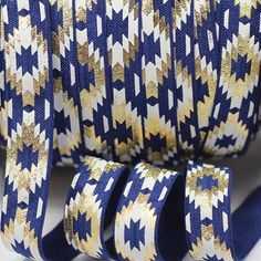 mdribbons Value Pack 5/8' 10Yds/Pack Gold Aztec Print Fold Over Elastic -Hair Tie Headband Ponytail Holder Making Supplies-Navy Color *** Want additional info? Click on the image.