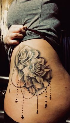 Rose Hip Tattoo Cleo Stephens - Inkmore Tattoos #Houston #Texas #Ink #Tattoo #HoustonArtist #Rose #Dangles #HipTattoo #SideTattoo