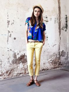 printed blouse and yellow pants