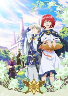 A key visual for the upcoming TV anime adaptation of Sorata Akizuki fantasy shoujo manga Akagami no Shirayuki-hime/Snow White with the Red Hair is revealed to Japanese media today. Manga Anime, Anime Art, Manga Hair, Anime Kiss, I Love Anime, Me Me Me Anime, Animes Online, Bd Art, Snow White With The Red Hair