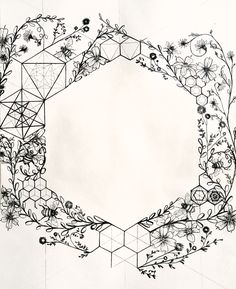 The hexagon. Illustration by Leiko Aguinaldo. - The hexagon. Honeybee's sacred structure. Illustration by Leiko Aguinaldo. Hexagon Tattoo, Honeycomb Tattoo, Honeycomb Shape, Hexagon Shape, Bee Drawing, Bee Art, Bees Knees, Tattoo Inspiration, Cool Tattoos